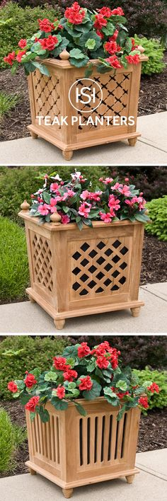 Coordinate your outdoor space with teak planters to match your teak patio or deck furniture.
