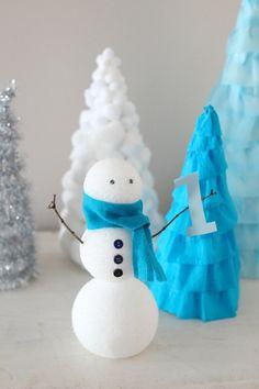 Winter Wonderland First Birthday Party - Snowman Centerpiece