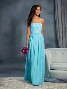 Alfred Angelo Style 7378L: long floor length strapless bridesmaid dress with white lace underlay in bodice