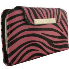 Pink Zebra Leather Folding Wallet Case