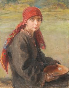 Teodor Axentowicz | <i>DZIEWCZYNA HUCULSKA</i> | olej, płótno | 50 x 40 cm