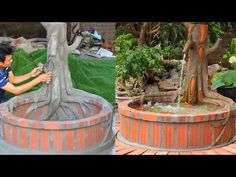 Garden Designs | Creative Aquarium under the Old Tree with Cement and Brick - YouTube Aquarium Garden, Cement Art, Fish Tank, Fountain, Garden Design, Brick, Old Things, Backyard, Landscape