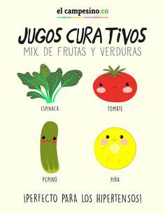 #ElCampesinoDice: Primero, lavar y desinfectar perfectamente los #Ingredientes. Luego, retirar la cáscara del #Pepino y partir en cuadritos junto con el #Tomate, el pepino y la #Piña. Licuar con las #Espinacas. Tomar un vaso de este jugo en días alternos (un día sí y otro no). Esto ayudará a las personas con problemas de #Hipertensión. Consuma frutas y verduras por #Salud.
