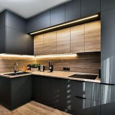 The 27 best black kitchens kitchen trends you need to see 5 Luxury Kitchens BLACK Kitchen Kitchens Trends New Kitchen Interior, Modern Kitchen Interiors, Kitchen Room Design, Home Room Design, Kitchen Cabinet Design, Modern Kitchen Design, Home Decor Kitchen, Home Interior Design, Interior Architecture