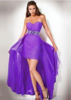 Column Strapless Beaded Waistband Short Front Long Back Prom Dresses