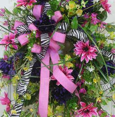 X Large Spring & Summer Outdoor Wreath with zebra and pink double bow LadybugWreaths, $269.97