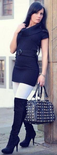 Black cowl neck sweater minidress white leggings black OTK boots