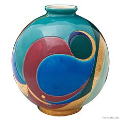 "Longwy Enameled Ceramic Boule Vase, France, Late 20th Century. Dimensions: 15-1/2"" x 15-1/2"" www.the-maac.com/paul-stamati-gallery?id=67=105=2545&?_vsrefdom=pinterest"