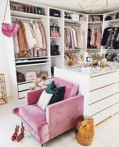 What a lovely dressing room or walk in wardrobe - Home Page Wardrobe Room, Closet Bedroom, Bedroom Decor, Glam Closet, Pink Closet, Luxury Closet, Master Bedroom, Pink Wardrobe, Ikea Closet