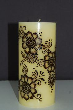 3 x 6 Floral Henna Candle by BelleGitane on Etsy, $15.00