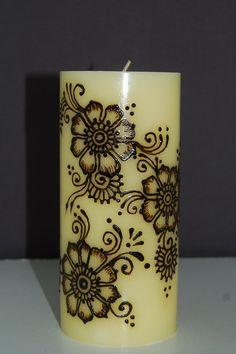 3 x 6 Floral Henna Candle by BelleGitane on Etsy, $15.00