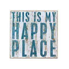 Let everyone know where your happy place is with this sign hanging on your wall or adorning a table. Whether you place one in the foyer, bedroom, or kitchen, the uplifting message goes with all décors....  Find the Happy Place Plaque, as seen in the 24 Hour Clearance Sale: Day 2 Collection at http://dotandbo.com/collections/presidents-day-weekend-sale-2016-decor-clearance-day-2?utm_source=pinterest&utm_medium=organic&db_sku=PBK0018