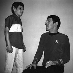 Leonard Nimoy and his son, Adam in Vulcan make-up.