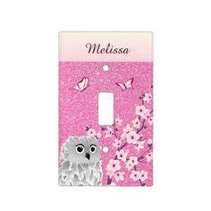 Glitter Owl Cherry Blossoms Kids Monogram Light Switch Cover - kids kid child gift idea diy personalize design