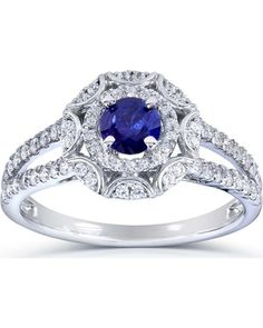 Annello 14k White Gold Blue Sapphire and 1/2ct TDW Floral Vintage ...