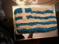 Butter cake with buttercream icing and greek flag Greek Cake, Greek Flag, Buttercream Icing, Greek Recipes, Food Ideas, Party, Beer, Pies, Greek Food Recipes