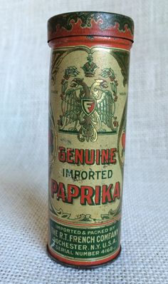 French's Paprika Tin - 1920's - Vintage Advertising - Kitchen Spices