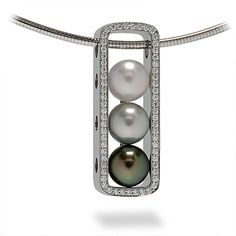 Pearls make a thoughtful gift for Mom.  Escapade Collection - A trio of 10mm South Sea and Tahitian Pearls accented by Round Brilliant Cut Diamonds set in Palladium. #coffinandtrout #jewelry #pearls #mothersday.
