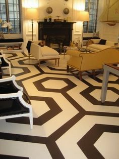 Love these floors. I think I've gone a little painted floor crazy - colorful houses Basement Painting, Painting Tile Floors, Painting Concrete, Decorating Your Home, Interior Decorating, Painted Concrete Floors, Diy Flooring, Easy Woodworking Projects, Floor Design
