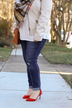 White Leather Jacket, Jeans, Red Heels, Plaid Blanket Scarf, Rebecca Minkoff MAC