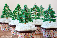 Chocolate Christmas Tree Cupcakes Recipe | Just a Taste