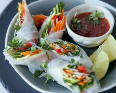Vegtable Spring Rolls with Spicy Tomato Jam