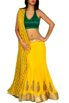 Yellow Georgette Lehenga with Green Raw Silk,