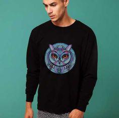 Owl sweatshirt for men black college crew neck sweatshirts pullover