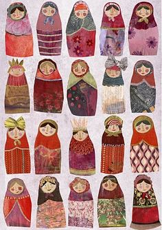 These look like nesting dolls, which I've always loved. The textures and patterns are so lovely, no?