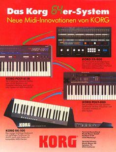 KORG Poly-61M / Poly-800 / EX-800 / RK-100 Anzeige 1984