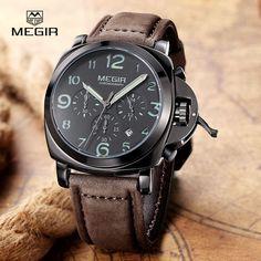 Мода военная световой кварцевые часы мужчины аналоговый свободного покроя хронограф водонепроницаемый кожа наручные часы мужчины лучший бренд megir 3406
