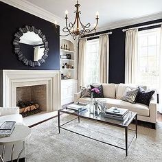 Living Room with Black Walls - Contemporary - living room - Laura Hay Decor Design Navy Living Rooms, Black And White Living Room, Design Living Room, White Rooms, New Living Room, Home And Living, Living Room Decor, Black White, Modern Living