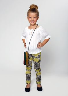 Mixed Up Clothing's white peasant top with tribal ruched legging. www.mixedupclothing.com  #kidsfashion