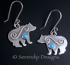Silver Bear Earrings with Spirals and by SerendipDesignsJewel, $54.00