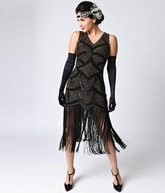 1920s Flapper Dresses Unique Vintage Iconic by UV Black Antique Gold Beaded Mesh Isadora Fringe Flapper Dress Size XL $268.00 AT vintagedancer.com