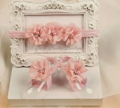 Barefoot Baby Sandals & Headband - Soft Pink