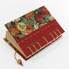 handmade journal / notebook , coptic stitch bookbinding , handmade bookmark , size: A6 , by #Siraa #Crafts