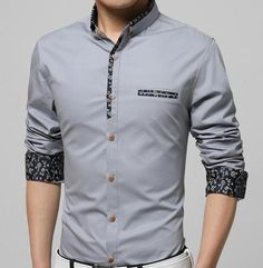 Mens Button Down Shirt with Floral Trim