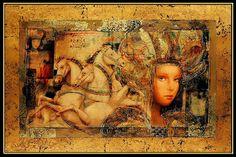 Large CSABA MARKUS Original HAND Signed Embellished oil painting Serigraph art