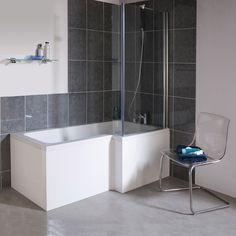Duschbadewanne Rechtsbündig 1700mm mit Duschabtrennung aus Glas
