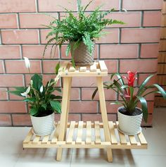 Two-level wooden shelf, floor Small Wooden Shelf, Wooden Shelves, Wooden Plant Stands, Diy Plant Stand, Arts And Crafts For Teens, Diy Arts And Crafts, House Plants Decor, Plant Decor, Outdoor Shelves