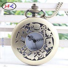 Freies verschiffen Alice im Wunderland Thema Kaninchen & Spielkarte & Schlüssel Taschenuhr Vintage Halskette Anhänger Bronze Uhr Geschenke(China (Mainland))