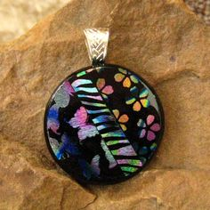 Round Dichroic Fused Glass Pendant Dichroic Jewelry  by GlassCat, $28.00