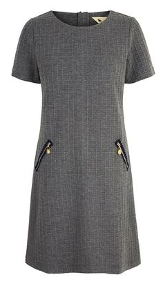 Short sleeved grey tunic with square embossed detail in fabric. Zip pockets and zip down centre back with navy trim. Occasion Wear, Special Occasion Dresses, Short Sleeve Dresses, Long Sleeve, Eminem, Put On, Fashion Boutique, Party Dress, Dresses For Work