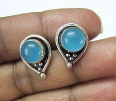 Attractive Sky Blue Chalcedony Silver Oxidized Jewelry Stud Earrings US - 2173 #SilvestoIndia #Stud