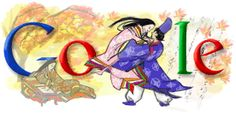 A Google design celebrating The  Tale of Genji and the author Murasaki Shikibu. They are all dressed in heian robes.