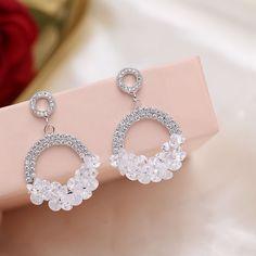 Silver Bracelet With Cross Referral: 1396314323 Fancy Jewellery, Fancy Earrings, Jewelry Design Earrings, Gold Earrings Designs, Ear Jewelry, Bridal Earrings, Designer Earrings, Silver Jewelry, Silver Ring