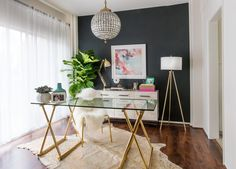 YouTube Star Desi Perkins's Contemporary-Glam Home Office Will Make You Want to WFH