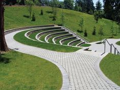 Mutual Materials permeable pavers, Ecoloc, are used throughout the Lewis River recreational area to pave walkway paths and around wetlands and an amphitheater. #LandscapePark