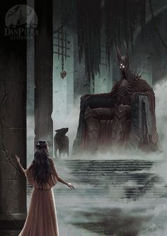 The Throne Of Morgoth by DanPilla.deviantart.com on @DeviantArt. Beren and Luthien arrive before the throne of Morgoth